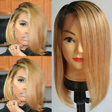 Bob Lace Front Wigs 100% Indian Human Hair Wig Short Straight Pre Plucked 1B/30