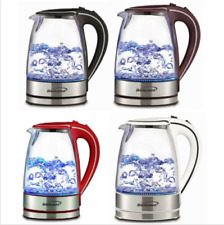 Tempered Glass Coffee Tea Kettle Hot Water Electric Cordless 1.7L With LED Light