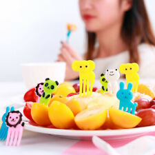 10Pcs / bag Animal Farm Resin Fruit Toothpick Children Mini Cartoon Fruit Fork