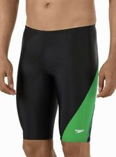 SPEEDO Revolve Splice PowerFlex Swim Jammer Male Shorts Black Green Mens 34 36
