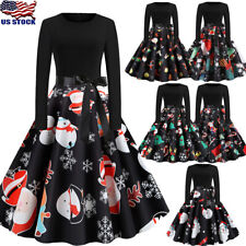 Women Long Sleeve Evening Party Cocktail Floral Christmas Vintage Dress New