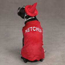 Casual Canine KETCHUP Dog Pup Halloween Costume Hook & Loop Closures Bright Red