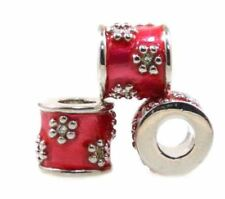 Dora Beads Cloisonne Layered in 18kt White Gold Setof 6