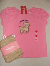 Gymboree SMART KITTIES Girls Pink Kitty Cat Top Leopard Leggings Set NWT 18-24