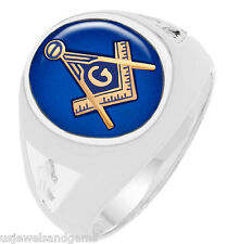 Men's Sterling Silver Gold Masonic Freemason Mason Ring