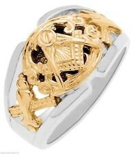 Men's Solid Back Sterling Silver Gold Masonic Freemason Mason Ring