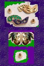 MARDI GRAS New Orleans EARRINGS Bead King Mask Crown Jester Green Purple Jewelry