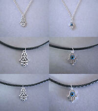 Tibetan Silver Hamsa Hand Evil Eye Protection Necklace