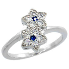 Sterling Silver Vintage Style Double Star Ring w/ Brilliant Cut CZ Stones