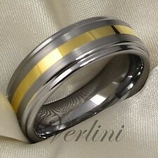 Mens Tungsten Wedding Ring 14K Gold Band Solid His & Her Rings Brushed Jewelry