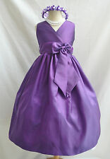 PURPLE CHAMPAGNE WEDDING DAVIDS FLOWER GIRL DRESS 1-14
