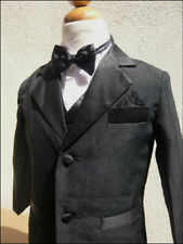 KS28 BOYS TUXEDO WITH VEST  BOW TIE BLACK FORMAL SUIT