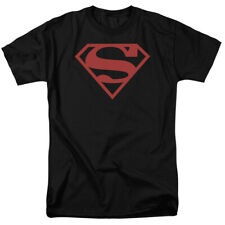 Licensed Superman Red On Black Shield Adult Shirt S-3XL