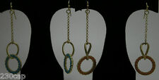 "Dangle Earrings 3""Long Satin Gold - Chain Circle Charm-Turquoise colored accent"