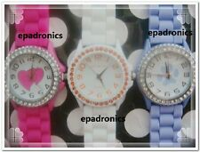 Graceful Geneva Silicone Jelly Watch Crystals on Bezel Multi Colors to Choose