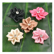 Wholesale 20/100pcs Lots Satin Ribbon Flower with Crystal Bead Appliques 26x28mm