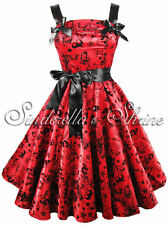 HELL BUNNY Bright Red ~TaTToo FLoCKeD~Satin 50s Party Evening Dress XS-4XL 6-20