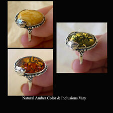 BALTIC BUTTERSCOTCH, GREEN or HONEY AMBER & STERLING SILVER LEAF HANDMADE RING