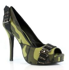 SEXY ARMY SOLDIER MILITARY COSTUME CAMOUFLAGE PEEP TOE PLATFORM HEELS PUMPS
