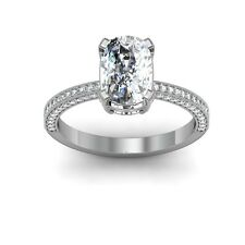 1.73 Ct Quad-pronged Cushion Diamond Engagement Wedding Rings Pave GIA VS2-G