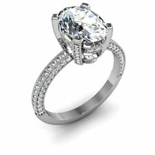 2.71 Ct 4-pronged Oval Cut Diamond Engagement Wedding Rings Micro-Pave EGL SI1-F