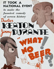 """Buster Keaton & Jimmy Durante in What No Beer - 24""""x36"""" Canvas Classic Movie"""