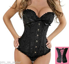 New Sexy Black  Satin Lace Up Corset Bustier + G-String S M L XL