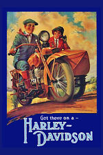 """Vintage Harley Davidson - 24""""x36"""" Canvas Motorcycle Poster on Canvas"""