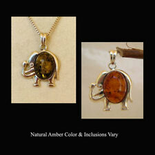 BALTIC HONEY or GREEN AMBER & STERLING SILVER ELEPHANT PENDANT