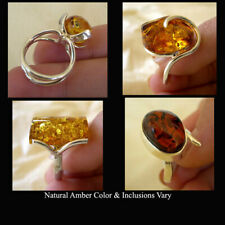 BALTIC HONEY AMBER & STERLING SILVER HANDMADE MODERN RING