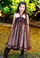 Brown Leopard Brown Chiffon Ruffles One Piece Pettidress Child Girl Dress 1-10Y