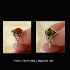 BALTIC GREEN or HONEY AMBER & STERLING SILVER RING
