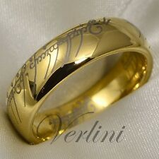 Gold Tungsten Lord Ring Wedding Band Elvish LOTR The Rings Bridal Jewelry