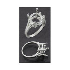 (9mm - 15mm Round) Wire Mount Sterling Silver Ring Setting (Ring Size 7)