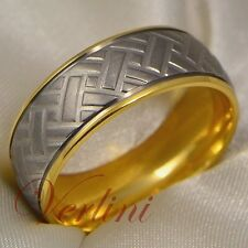 Mens Titanium Ring 14k Gold Wedding Band Tire Designe Size 6-13