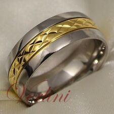 Titanium Men's Ring 14k Gold Wedding Band Bridal Jewelry Size 6-13