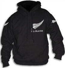 All Blacks New Zealand Mens Womens Hooded Top Sm 2XL Hoody NZ Silver Fern Rugby