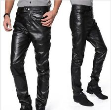 Men Fashion Stylish Faux Leather Slim Fit Trousers Pants Black New SM3 MPT046