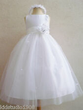 NEW WHITE COMMUNION INFANT FLOWER GIRL PARTY DRESS S M L XL 2 4 6 8 10 12 14