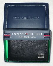 NEW NIB TOMMY HILFIGER MENS SLIM BILLFOLD & VALET LEATHER BI-FOLD WALLET BLACK
