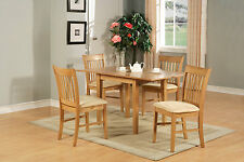 5PC RECTANGULAR KITCHEN DINETTE TABLE SET 4 CHAIRS OAK