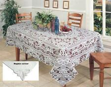Battenburg Lace with Sheer Grapes Tablecloth with Napkins White & Beige #3075