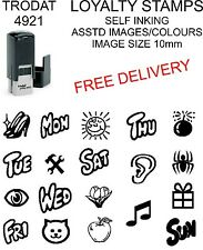 LOYALTY CARD STAMP CAFE, COFFEE SHOP etc SELF INKING RUBBER, ASTD IMAGES/COLOURS