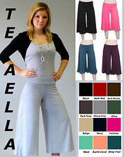 Rollover WIDE LEG crop capri PALAZZO GAUCHO pants S - XXXL Size 0-20 Many COLORS