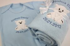 Personalised Baby Boy's Gift Set Christening Set Vest/Romper & Blanket ANY TEXT