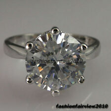 New 18K White Gold GP Swarovski Crystal Solitaire Engagement Wedding Ring IR002A