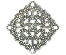 10 Antiqued Copper OR Silver Plated Filigree Square Connector  * 34x34mm