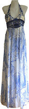 NEW EMILIO PUCCI GREEK BLEACH LAZURITE STONE SILK FULL LENGTH HALTER DRESS sz10