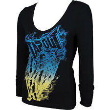 BNWT TAPOUT WOMENS BLK GRADIENT V-NECK THERMAL S M L XL MMA