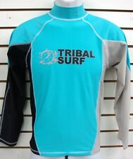 MENS SPF 50 SURF SHIRT RASH GUARD LONG SLEEVE SMALL THRU 2XL RGMLS AQUA